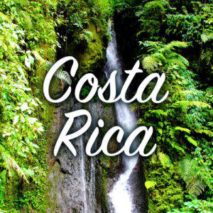 Costa Rica with a waterfall in the background