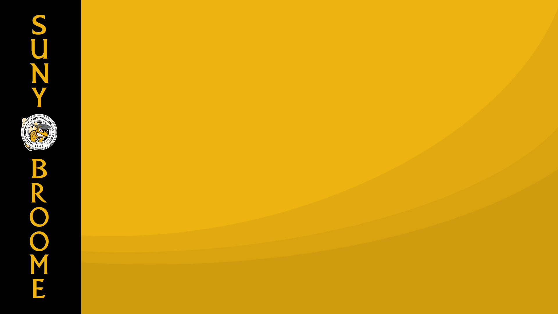 Download Zoom virtual background with SUNY Broome logo displayed vertically on left over a black stripe with abstract yellow background taking up majority of the visual space (jpg)