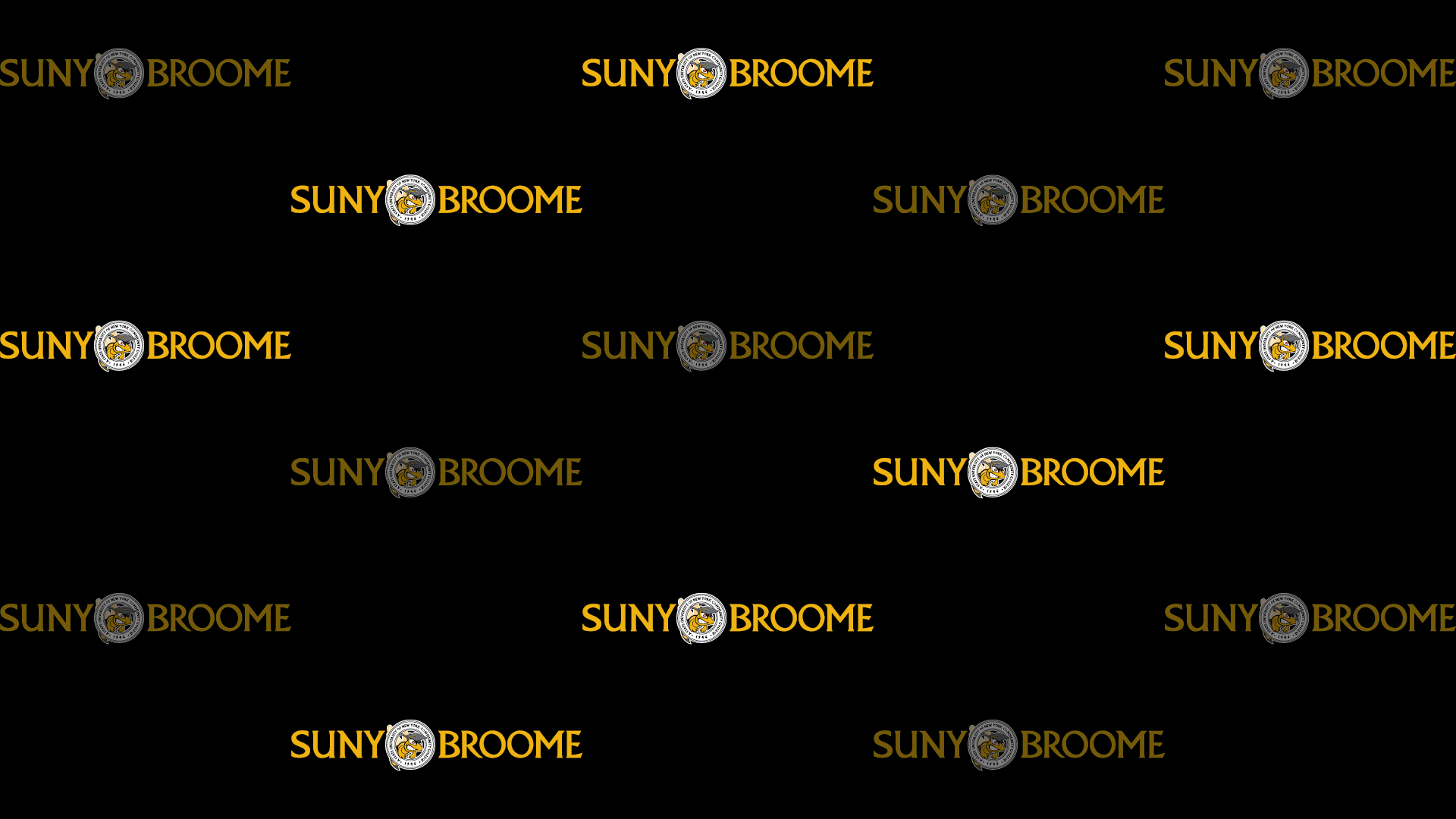 Download Zoom virtual background with yellow SUNY Broome logo tiled on black background (jpg)
