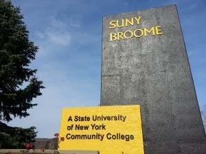 SUNY Broome monument outside