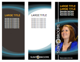 8.5x11 SUNY Broome trifold brochure template, blue background
