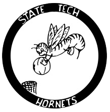 An older version of the hornet is encircled by text that reads State Tech Hornets.