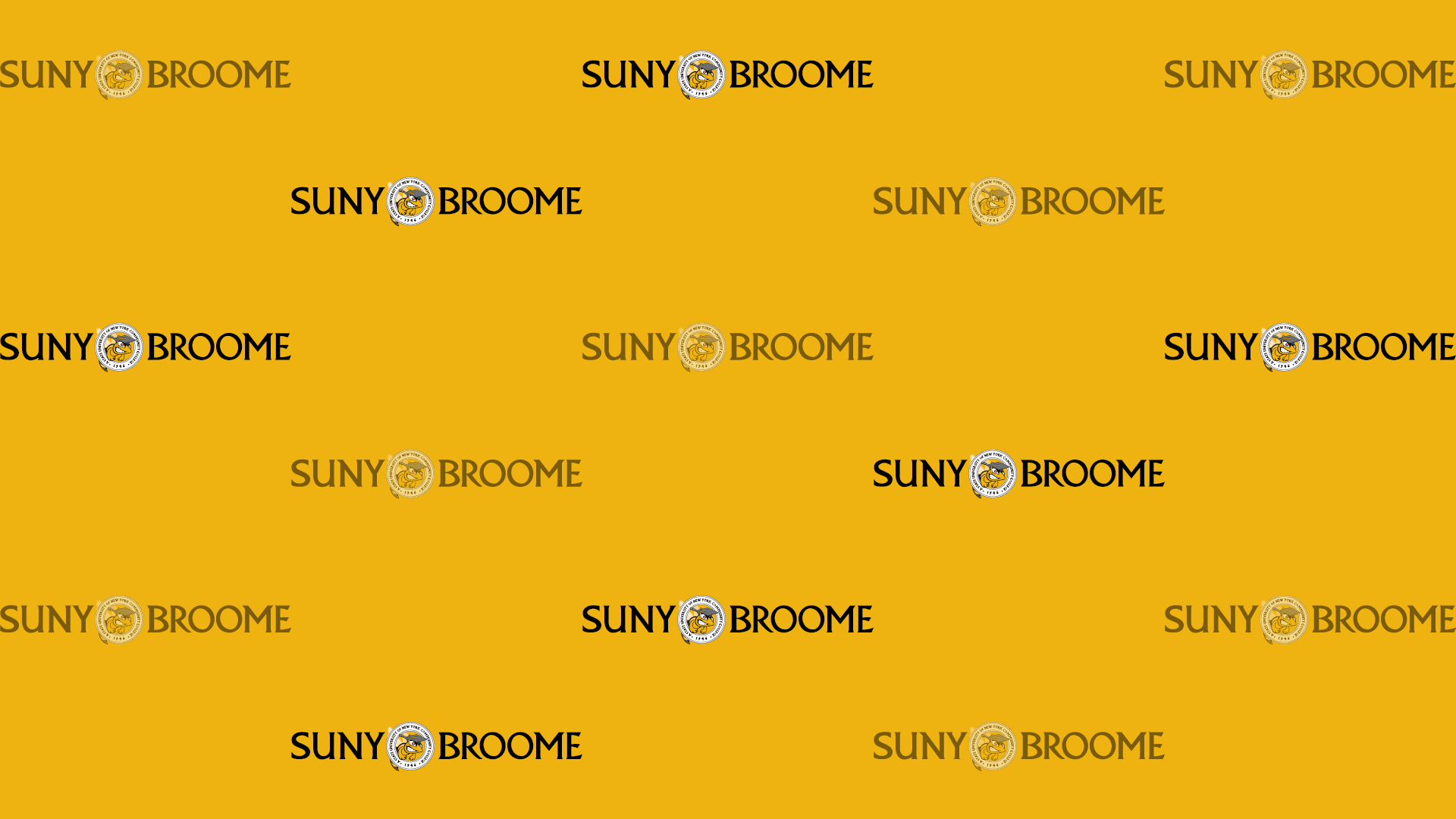 Download Zoom virtual background with black SUNY Broome logo tiled on yellow background (jpg)