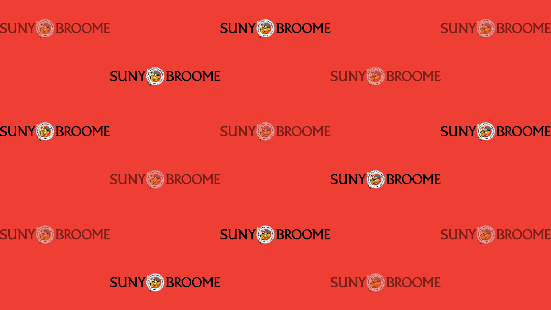 Download Zoom virtual background with black SUNY Broome logo tiled on red background (jpg)
