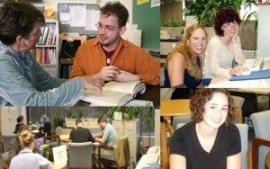 Students and tutors in the Writing Center